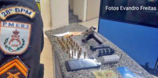 Homem preso com arma, granada e munições.