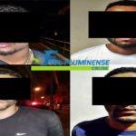 Quatro suspeitos foram presos depois de fugir da polícia e atirar duas granadas na viatura da PM.