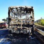 Micro-ônibus pega fogo e fica destruído na Via Dutra