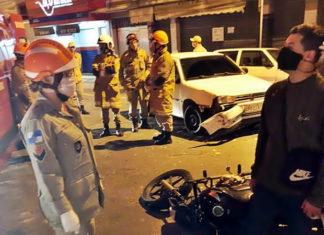 Motoboy fica ferido em acidente na Rua São João