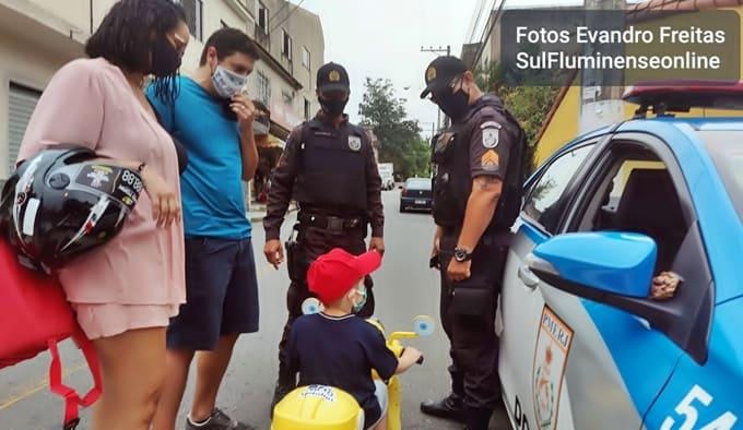 PM deu apoio na segurança no local para as homenagens ao mini-motoboy