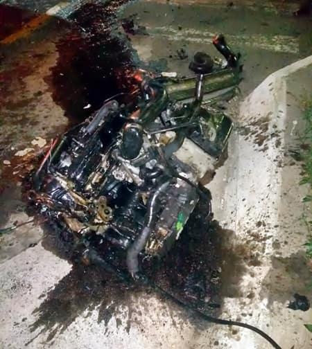 Motor foi arrancado com a força da batida