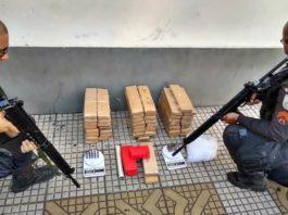 Tabletes de maconha apreendidos no Santa Cruz