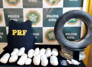 PRF e Polícia Civil apreende droga em pneu reserva na Via Dutra