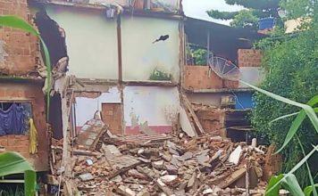 Defesa Civil interdita dois imóveis depois que casa desaba em Barra Mansa