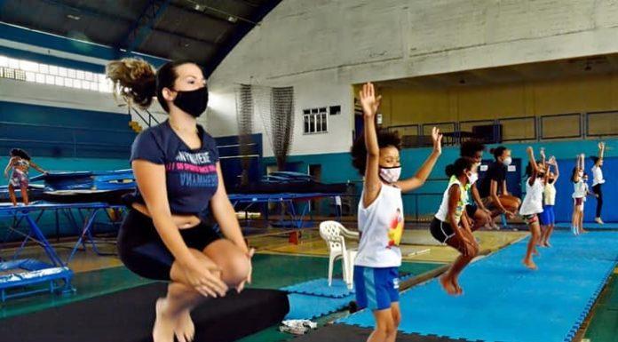 Ginástica de trampolim retorna aos treinamentos em Volta Redonda